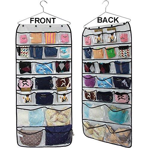 42 Pockets Hanging Closet Jewelry Organizers Bra Underwear Socks Ties wholesales