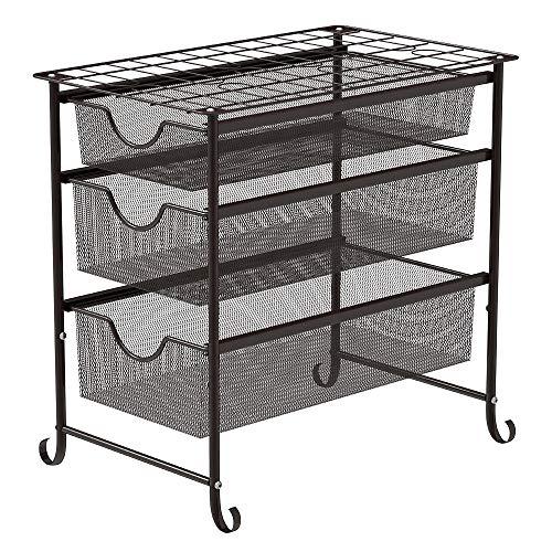 NEX 3 Tier Sliding Cabinet Basket Organizer Storage Shelf Drawer Brown