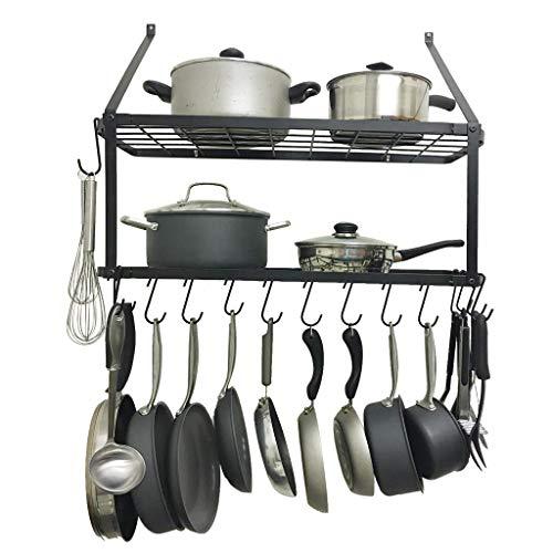 29 inch Hanging Pot Bar Rack Wall Mounted Lid Holder Detachable Rail Kitchen Utensils Hanger Kitchen Cookware Hanging Organizer with 10 S Hooks Black