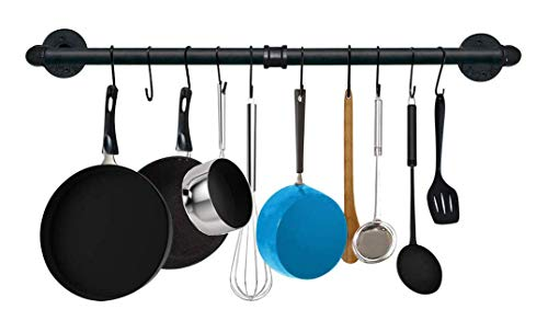 Kitchen Pot Rack Willor 315 inch Wall Hanging Pot Rack Kitchen Utensils Hanger Detachable Rail with 8 S Hooks Black