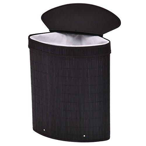 Black Hamper Laundry Basket Corner Washing Cloth Bin Storage Bag Lid Bamboo