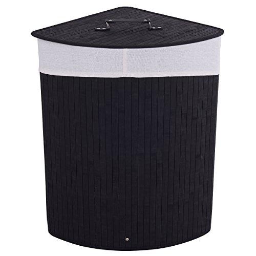 Giantex Corner Bamboo Hamper Laundry Basket Washing Cloth Bin Storage Bag Lid Black