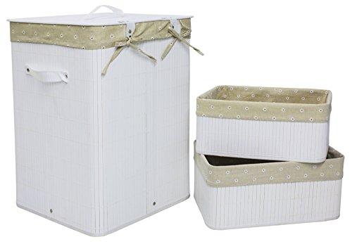 Set of 3 Laundry Hampers Bamboo Square Wicker Clothes Bin Baskets Storage Bin Organizers Retail Dump Bin 100209
