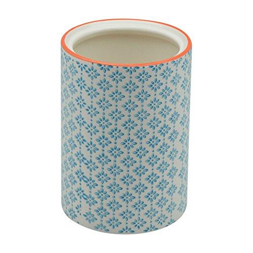 Nicola Spring Patterned Porcelain Kitchen Utensil Pot - Blue  Orange Print Design