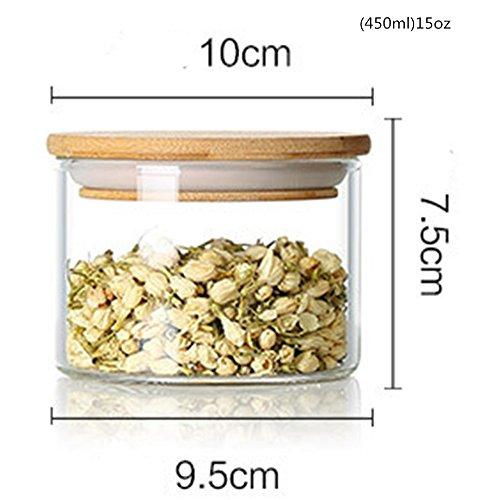 Emoyi Round Shape Glass Food Storage Jar Set with Airtight Bamboo Lid Seal 450ml15oz