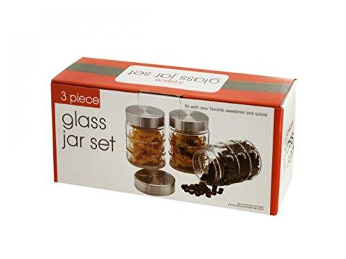 Modern Glass Food Storage Jar Set - Set of 6 Kitchen Dining Portable Food Beverage