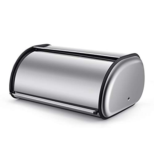Flexzion Stainless Steel Bread Box Holder 17 inch Metal Roll Up Top Lid Bread Container Storage Bin Keeper for Homemade Cake Buns Loaves Pastries Pancakes Cookies Ideal for Restaurants Home Kitchen