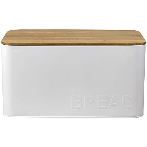Home Basics Medium Tin Bread Box with Bamboo Top Kitchen Countertop Organizer White 1