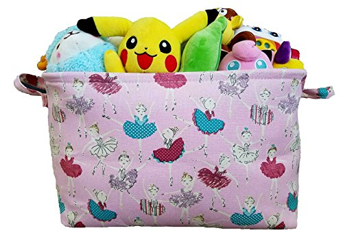 Pink Toy Storage Basket for Girls with Ballerinas Nursery Hamper Closet and Kids Laundry Organizer and Gift Basket