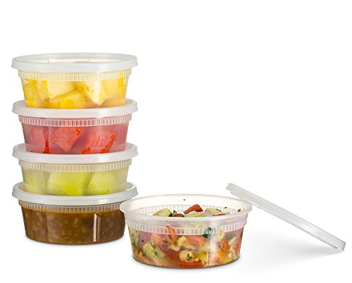 72 Count 8 Oz Combo Basix Disposable plastic Deli Food Storage Containers With Plastic Lids Leakproof Great For Meal Prep Picnic Take Out traveling Fruits Snack or Liquids