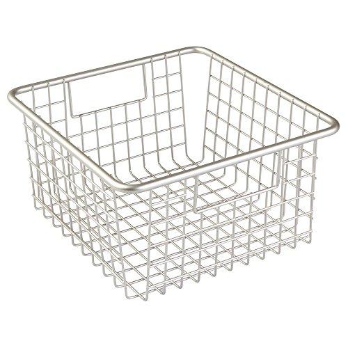 InterDesign Forma Household Wire Storage Basket with Handles For Kitchen Cabinets Pantry Bathroom Medium Satin  10-inch x 9-inch  x 5-inch