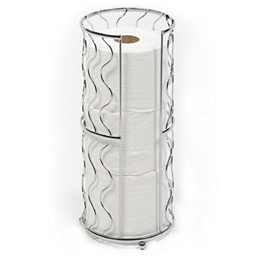 Richards Homewares Free Standing Toilet Paper Storage Reserve - Modern Bathroom Space Saver - Holds 3 Standard Rolls - Chrome