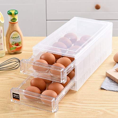 24 Grid Drawer Type Egg Storage Box Egg Crisper Kitchen Egg Tray Refrigerator Storage Container White