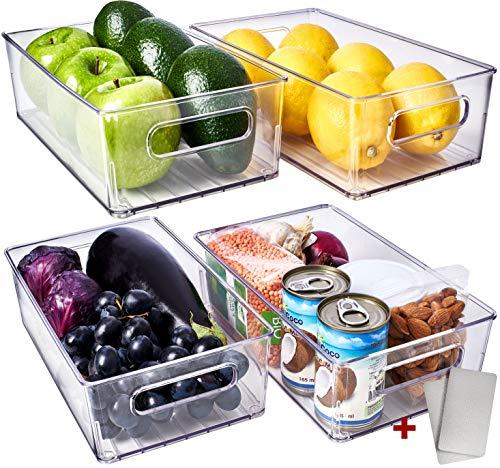 Fridge Organizer Bins 4 Pack - Refrigerator Organizer Bins Freezer Organizer Stackable Refrigerator Storage Bins Fridge Storage Containers Clear Pantry Organization And Storage Bins Clear Pantry Bins