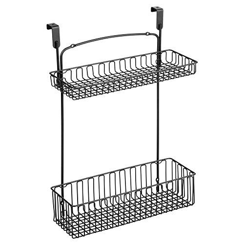 InterDesign Classico Over-the-Cabinet Kitchen Storage Organizer for Kitchen Bathroom or Cleaning Supplies – Matte Black