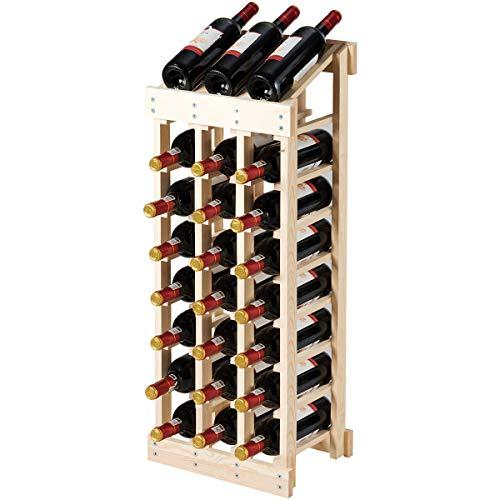 Giantex 24 Bottle Wine Rack Stackable Wine Bottles Organizer Wood Wine Display or Storage Shelf for Bar Wine Cellar Basement Cabinet Natural