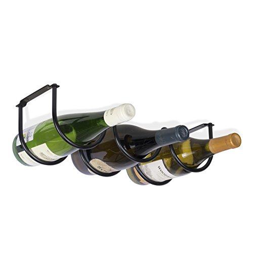 Wallniture Under Cabinet Durable Iron Wine Storage Rack for 3 Liquor Bottles Black