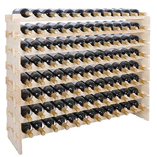 ZenStyle 8 Tier 96 Bottles Premium Wood Wine Rack Stand Capacity Stackable Storage Shelf Floor Freestanding Wine Cabinet Wobble-Free 96 Bottles