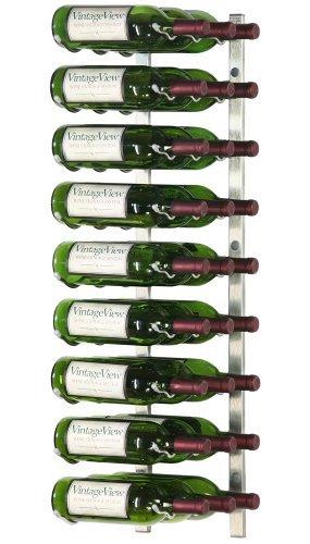 VintageView - WS33-P - 27 Bottle Wall Mounted Metal Hanging Wine Rack - 3 Foot Brushed Nickel by Vintage View