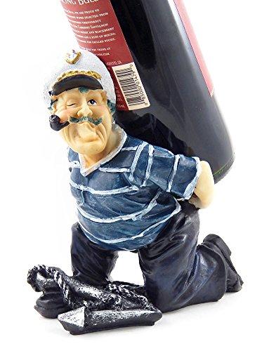 Bellaa Captain Anchore Wine Bottle Holder Statue Nautical Kitchen Bar Decor Wine Stands Racks Sculpture Gifts