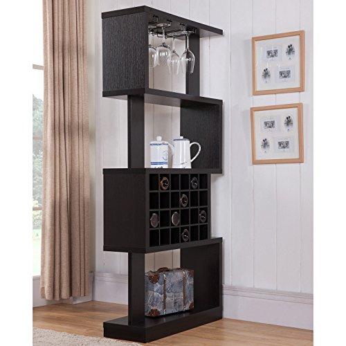 Darlene Tall Cappuccino 4-tier Geometric Wine Stand Room Divider w Hanging Stemware Racks on Top Shelf