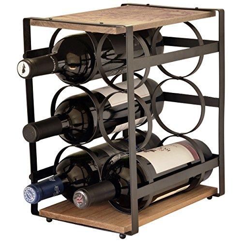 La vie Parisienne – Iron And Wood 6 Bottle Wine Rack – Wine Stand – Wine Bottle Holder – Vintage – Parisian – Brown