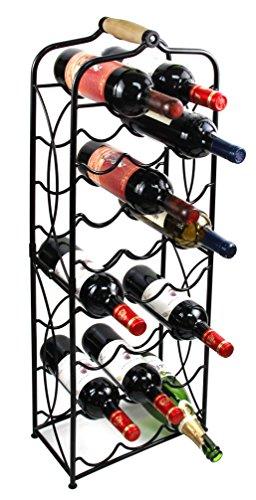 PAG 23 Bottles Metal Wine Racks Stand Display Holder with Wood Handle Black