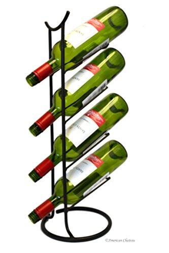 Oriental Pagoda Tabletop 4-Bottle Designer Vertical Wine Rack Metal Stand Holder