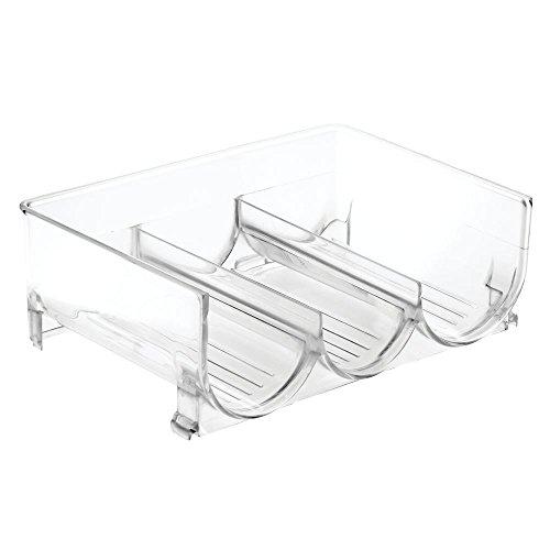 InterDesign Stackable Wine Storage Rack for Refrigerator Kitchen Countertops - Holds 3 Bottles Clear