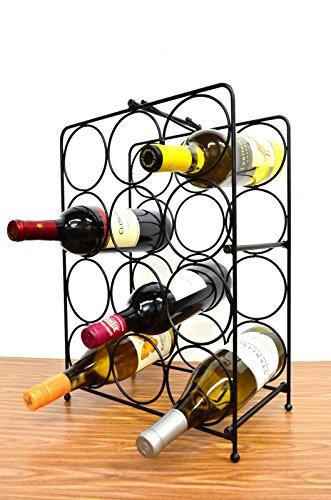 Superiore Livello Napoli 12 Bottle Free Standing Wine Rack Wine Holder Free Standing Metal Rack for Floor Modern Scroll Art Design Wine Bottle Storage Rack Perfect Floor Standing Wine Storage Rack