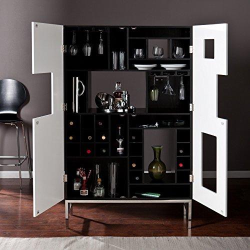 Rowena White Stainless Steel Shadowbox WineBar Cabinet