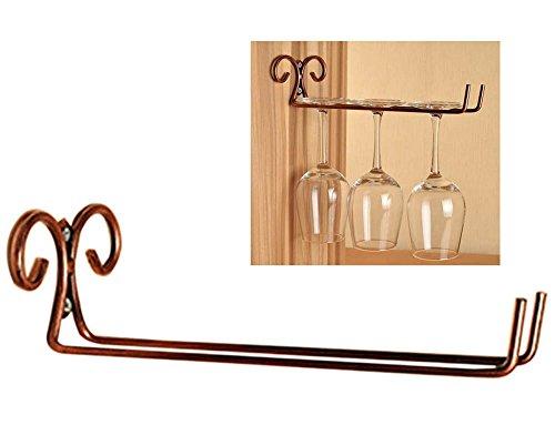 Fashionclubs Wall-Mounted Wine Glass RackHangerHolder Stemware Holder Rack For BarClubDining RoomHome 1-Row