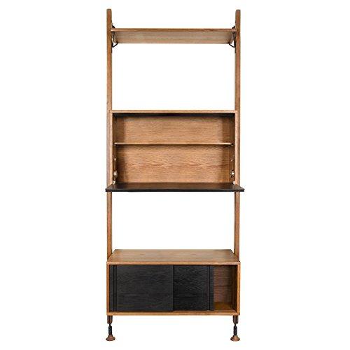 Peyton Modern Honey Oak Black Shelving Bar Storage Cabinet