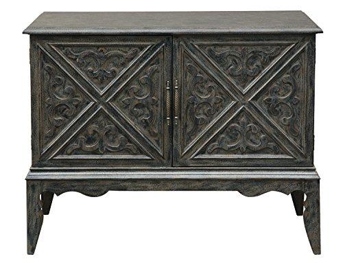 Pulaski P017169 Traditional Grey Wine Bar Storage Cabinet Intricate scroll work