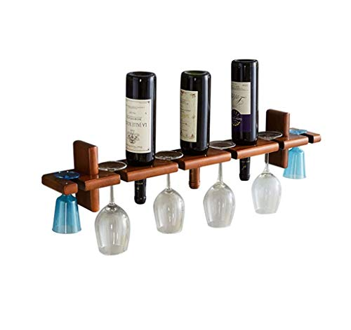 3 Bottles Wine Rack Solid Wood Wall Hanging Shelf Goblet Holder Living Room Display Stand Rack