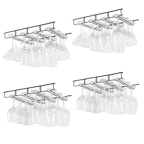 Wallniture Napa Stemware Rack Under Cabinet Wine Glass Holder Kitchen Bar Storage 4 Sectional Black Set of 4