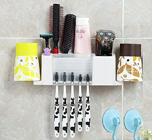 Home-organizer Tech Wall Mounted Toothbrush Holder Bathroom Storage Organizer Set Toothbrush Holder Mounted Dispenser Sets Tooth Brush Organizer and Bathroom Storage Organizer Set for 5 Brushes