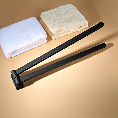 MARMOLUX ACC 304 Stainless Steel Swing Out Towel Bar 2-Bar Folding Arm Swivel Hanger Bathroom Storage Organizer Space Saving Wall MountMatte Black