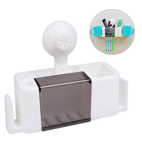 Wall Mounted Toothbrush Holder Suction Hook 4 Toothbrushes Storage Set Bathroom Storage Organizer Set White  Black