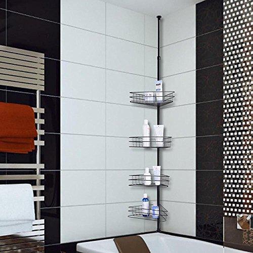 Yescom 4 Tier Soap Holder Metal Corner Shelf Caddy Bathroom Wall Rack Storage Organizer