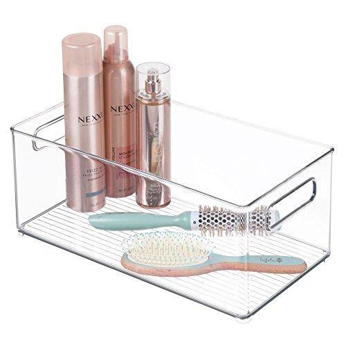 mDesign Bathroom Storage Organizer Bin for Lotion Hair Brushes Towels - 8 x 6 Clear