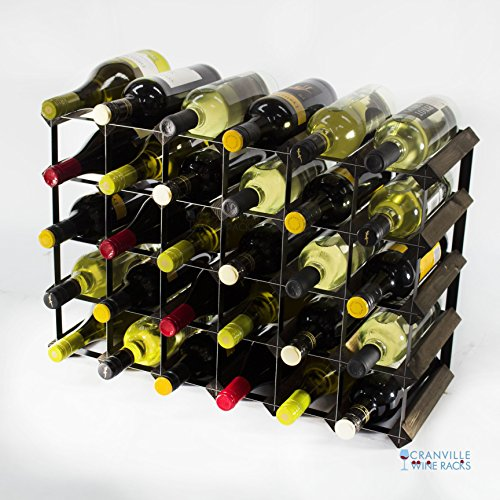 Classic 30 6x4 bottle dark oak stained wood and black metal wine rack ready assembled by Cranville Wine Racks