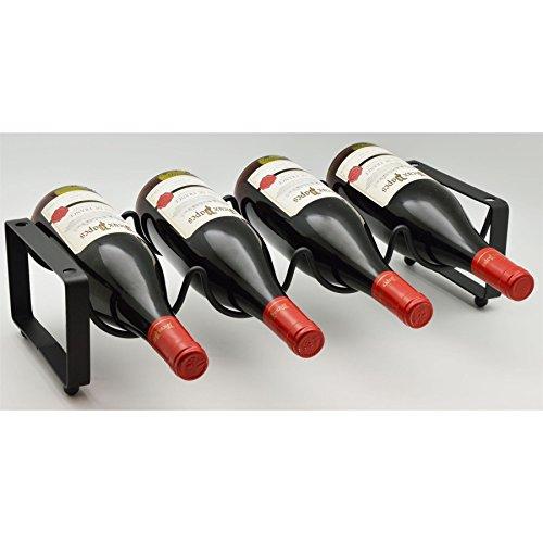 Harbour Housewares 4 Bottle Stackable Freestanding Black Metal Wine Rack