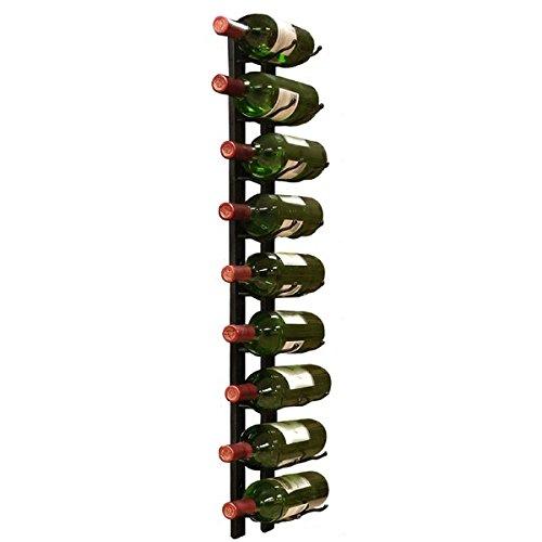Wall Mount 9-Bottle Black Metal Wine Rack