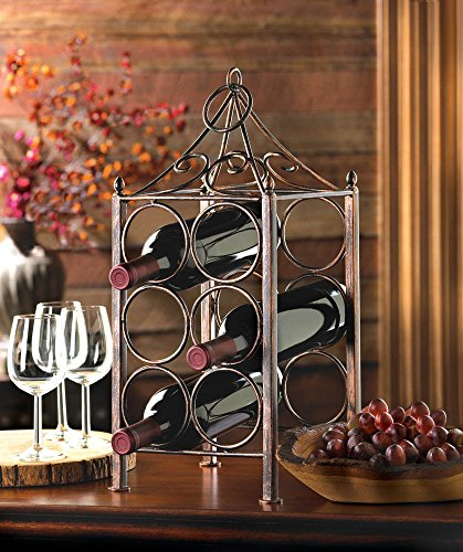 6 Bottle Wine Rack permanent storage bottles Holder Bakers Oenophilia Metal Kitchen Countertop Iron Buffet Rustic Table Display Storage