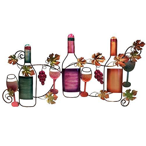 Benzara Classy Metal Based Wine Wall Décor Multicolor