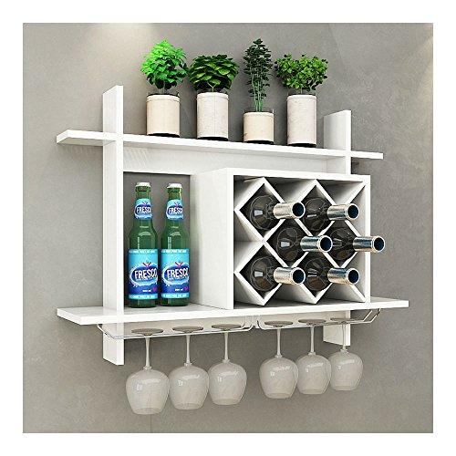 Wall Mount Wine Rack wGlass Holder Storage Shelf Organizer Home Decor White