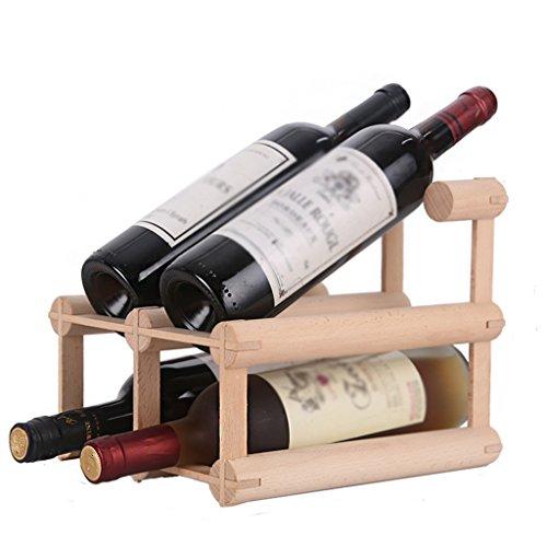 Beech Red Wine Rack Decorative wine holder Showcase Solid Wood Removable Creative Bottle Shelf  Color  1