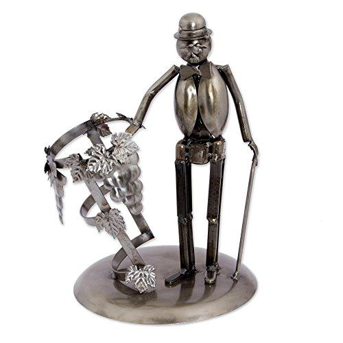 NOVICA Metallic Recycled Metal Decorative Wine Holders Chaplin