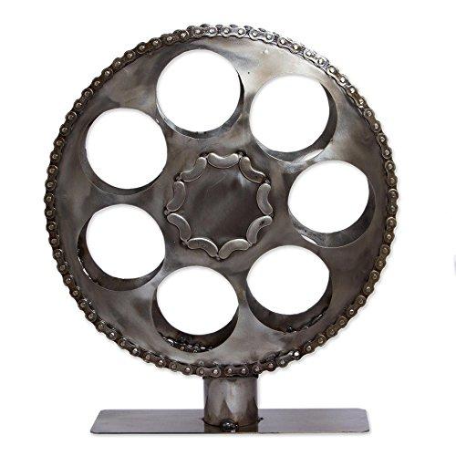 NOVICA Metallic Recycled Metal Decorative Wine Holders Film Reel
